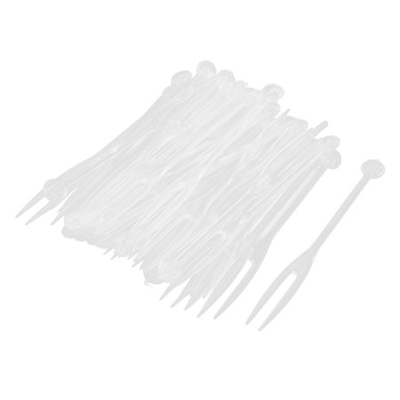 Disposable Fruit Dessert Cake Cocktail Cheese Flatware Forks Picks Clear (Flatware Dessert Fork)