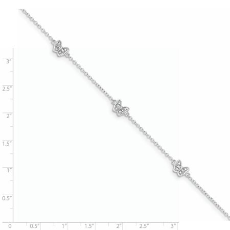 925 Sterling Silver Polished Cubic Zirconia Butterfly with 1in Extension Bracelet - image 1 of 2