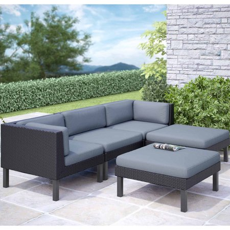 Corliving oakland 5 piece sofa with chaise lounge patio for 5 piece sectional sofa with chaise