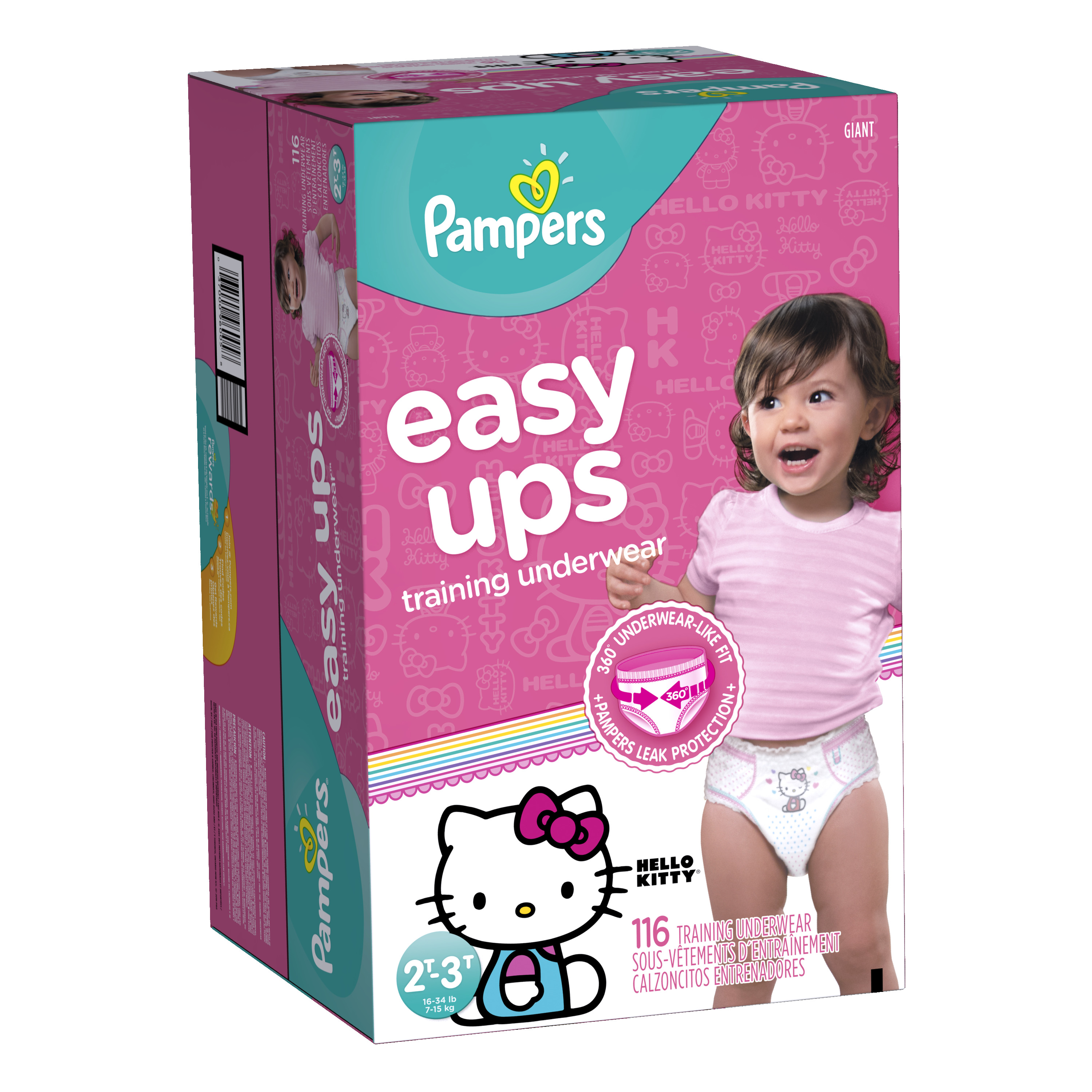 Pampers Easy Ups Girls Training Pants, Size 2T-3T (Choose Pant Count) - Characters May Vary