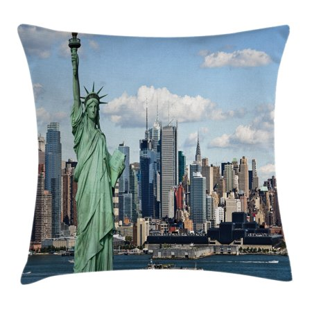 New York Throw Pillow Cushion Cover, Statue of Liberty in NYC Harbor Urban City Print Famous Cultural Landmark Picture, Decorative Square Accent Pillow Case, 16 X 16 Inches, Mint Blue, by Ambesonne (Nyc Decorative Pillows)