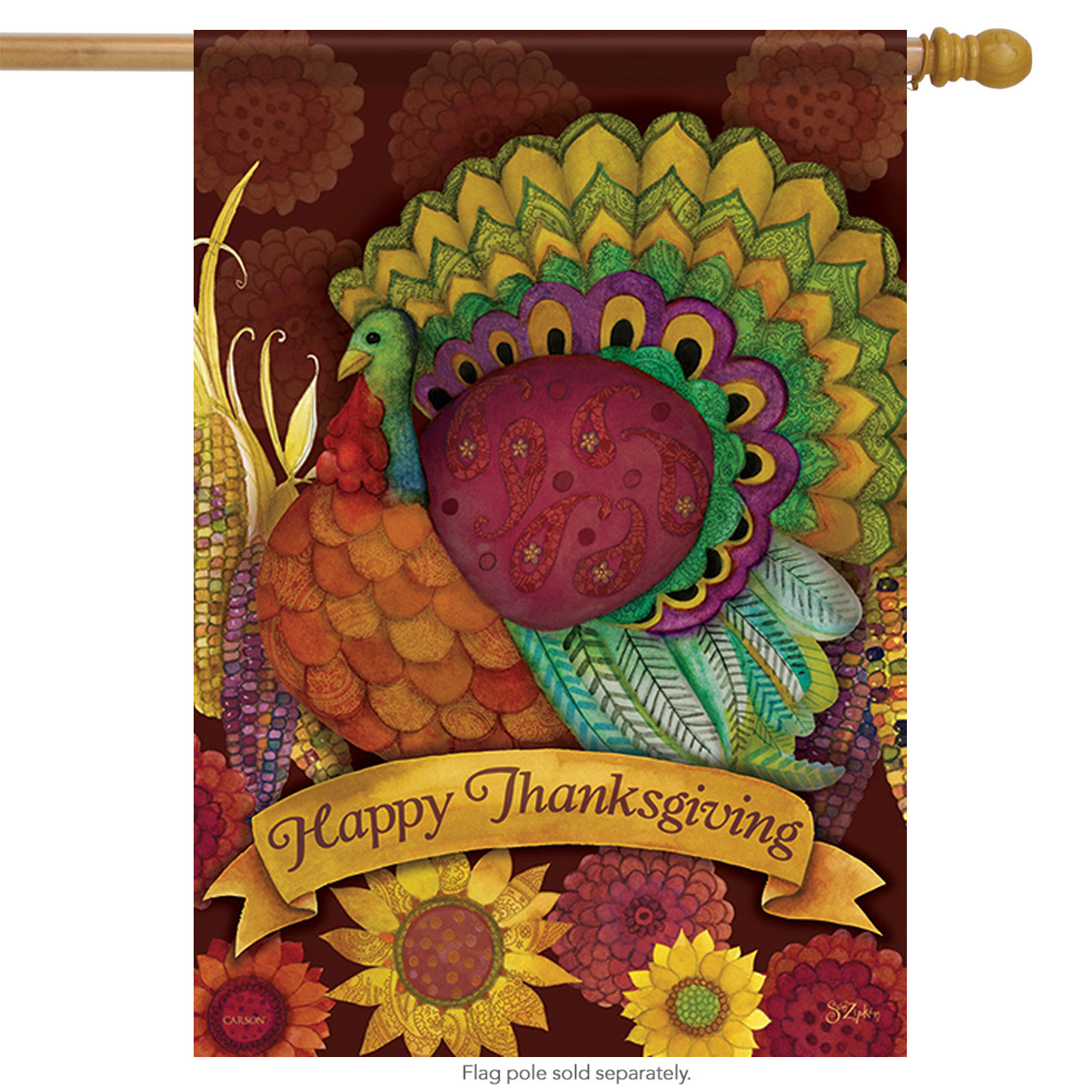 "Colorful Turkey Thanksgiving House Flag Fall Harvest Large Corn Banner 28"" x 40"""