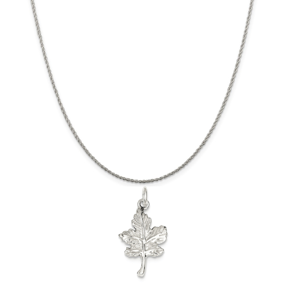 """Sterling Silver Leaf Charm on a Sterling Silver Rope Chain Necklace, 18"""""""