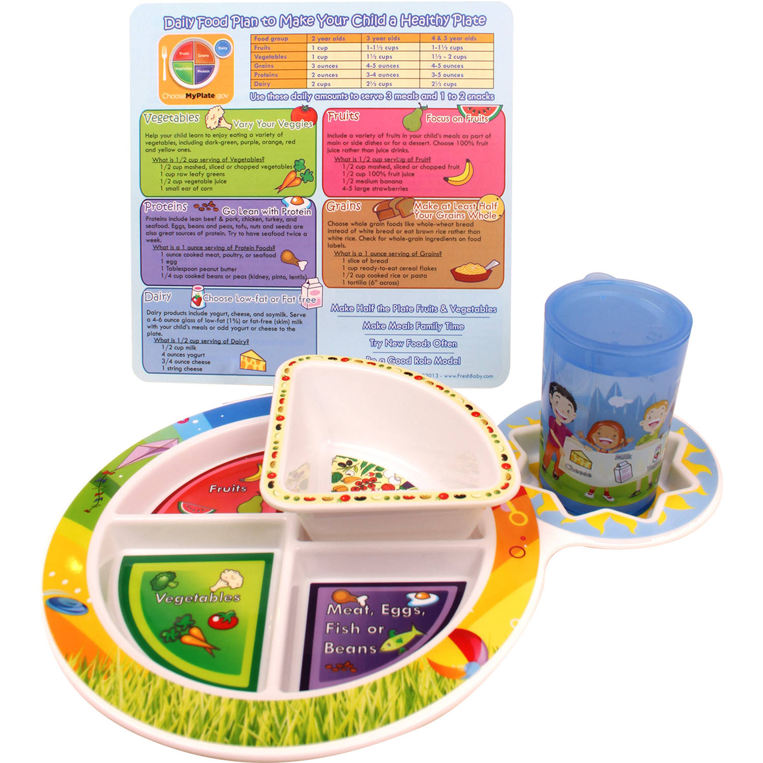 Fresh Baby Kid's 4-Piece Dinnerware Set with 5-Section MyPlate, Bowl, Training Cup and Daily Meal Plan Card