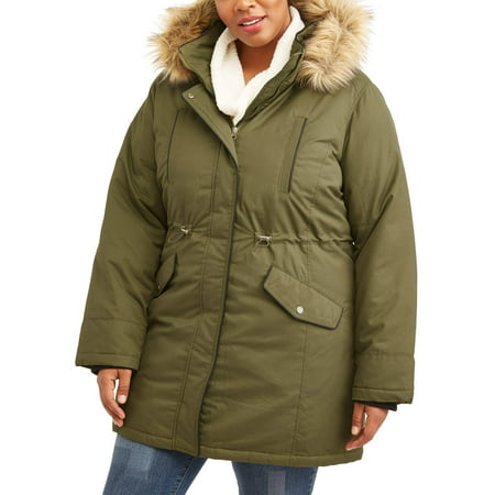 c47786a8093 Time and Tru - Women s Plus-Size Heavyweight Parka Jacket With Faux ...