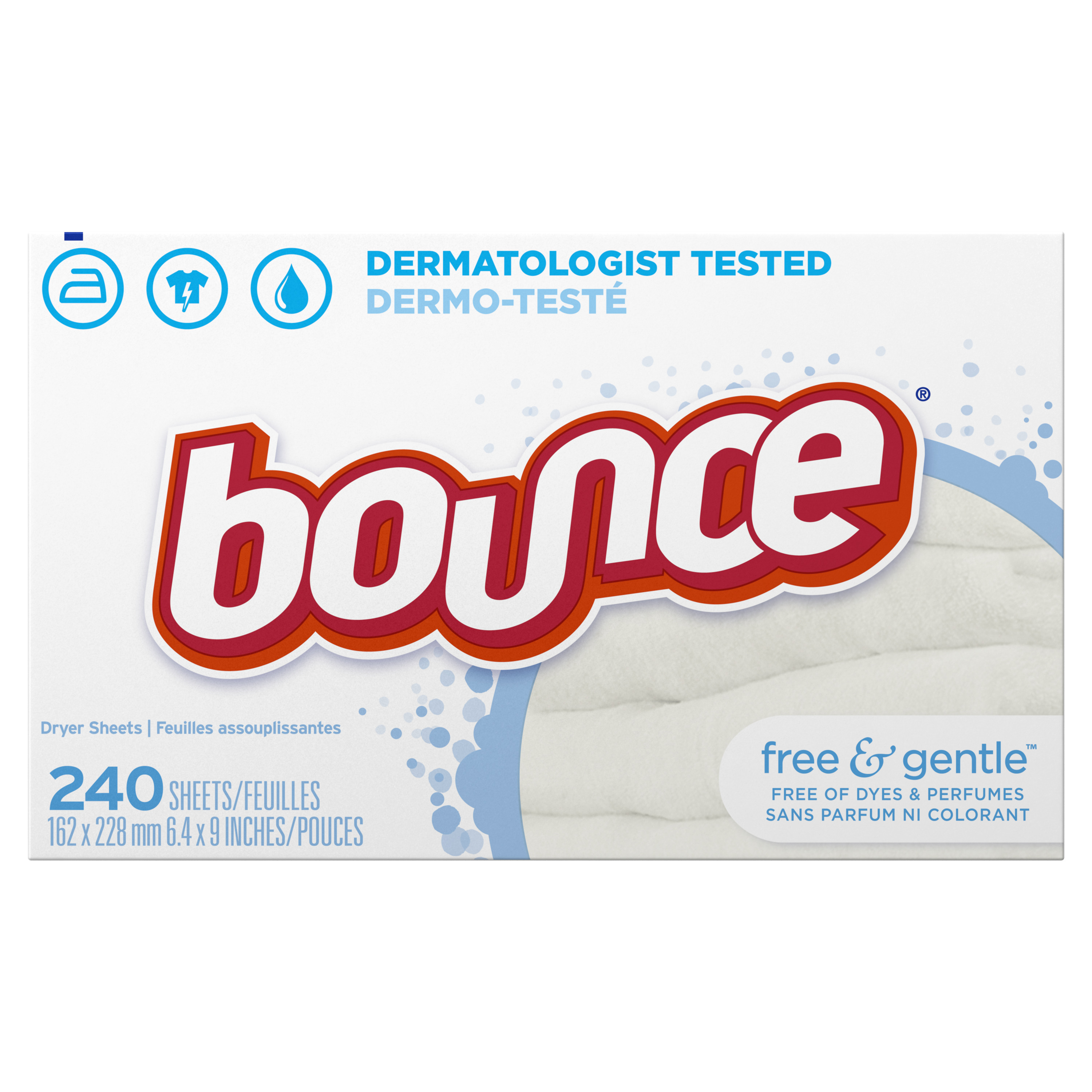 Bounce Free & Gentle Unscented Fabric Softener Dryer Sheets for Sensitive Skin, 240 count