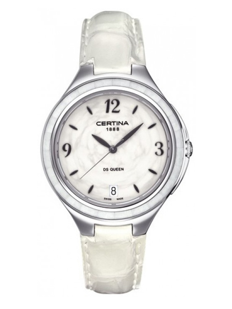 Certina women 39 s 36mm white calfskin band steel case anti reflective sapphire quartz watch for Anti reflective watches