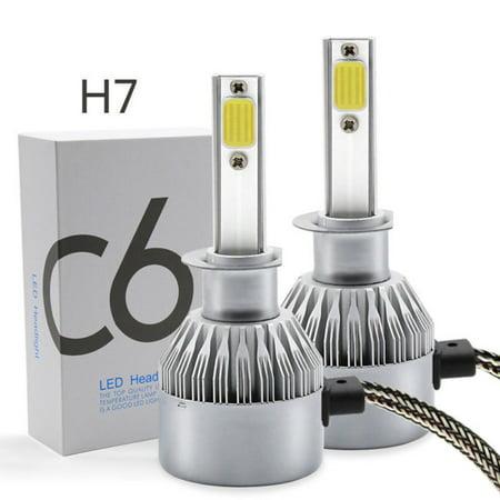 1 pair PHILIS COB H7 C6 7600LM 72W LED Headlight Kit Hi/Lo Turbo Light Bulbs 6500K Car