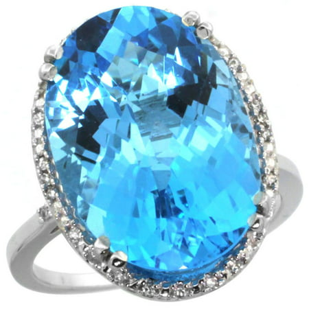 14K White Gold Natural Swiss Blue Topaz Ring Large Oval 18x13mm Diamond Halo, size 9 ()