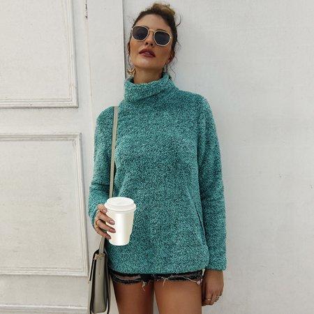 Fashion Women Winter Hoodie Faux Fur Pullover Turtleneck Long Sleeve Pocket Split Hem Solid Color Autumn Plush Sweater Split Cotton Sweatshirt