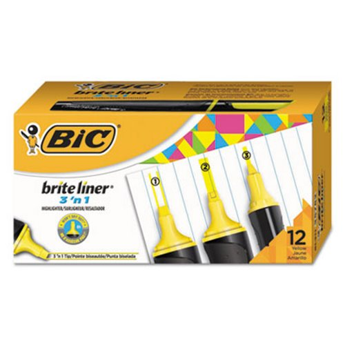 Bic Brite Liner 3 'n 1 Highlighters, 3 'n 1 Tip, Yellow, 1 Dozen (BICBL311YEL)