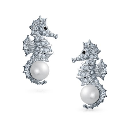 Nautical Wedding Cubic Zirconia CZ White Simulated Pearl Seahorse Earrings For Women For Bride Silver Plated Brass - image 1 of 4