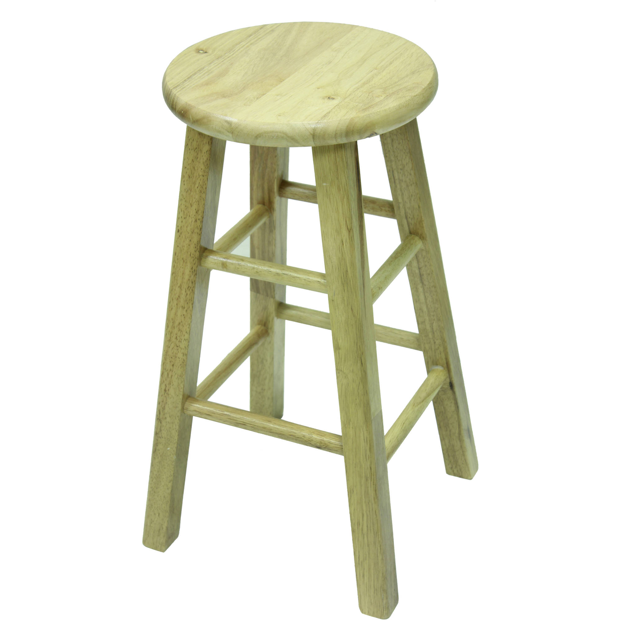 "Mainstays 24"" Fully Assembled Natural Wood Barstool"