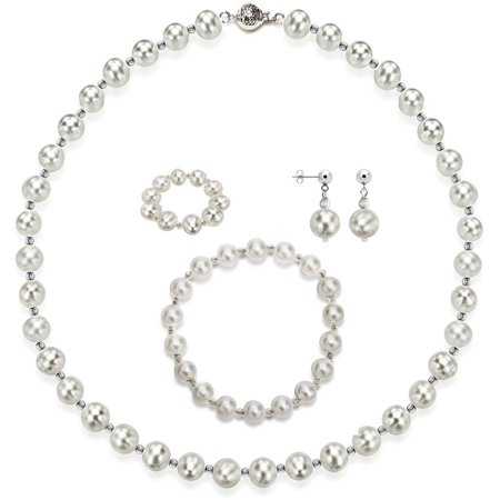 """Image of 4-Piece Set with White Freshwater Pearl Necklace Sterling Silver Chain 18"""" with Ball Clasp, Matching Stretch Bracelet, Matching Earring, & Matching Stretch Ring, 10mm x 11mm, Silver Beaded"""