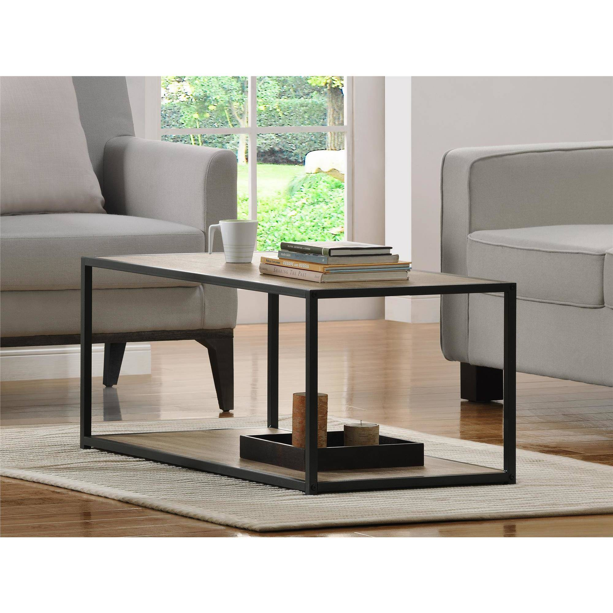 ameriwood home canton coffee table with metal frame, distressed
