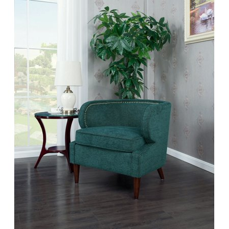 Chic Home Orlando Accent Side Club Chair Chenille Upholstery Polished Brass Finish Nailheads, Retro Modern, Teal