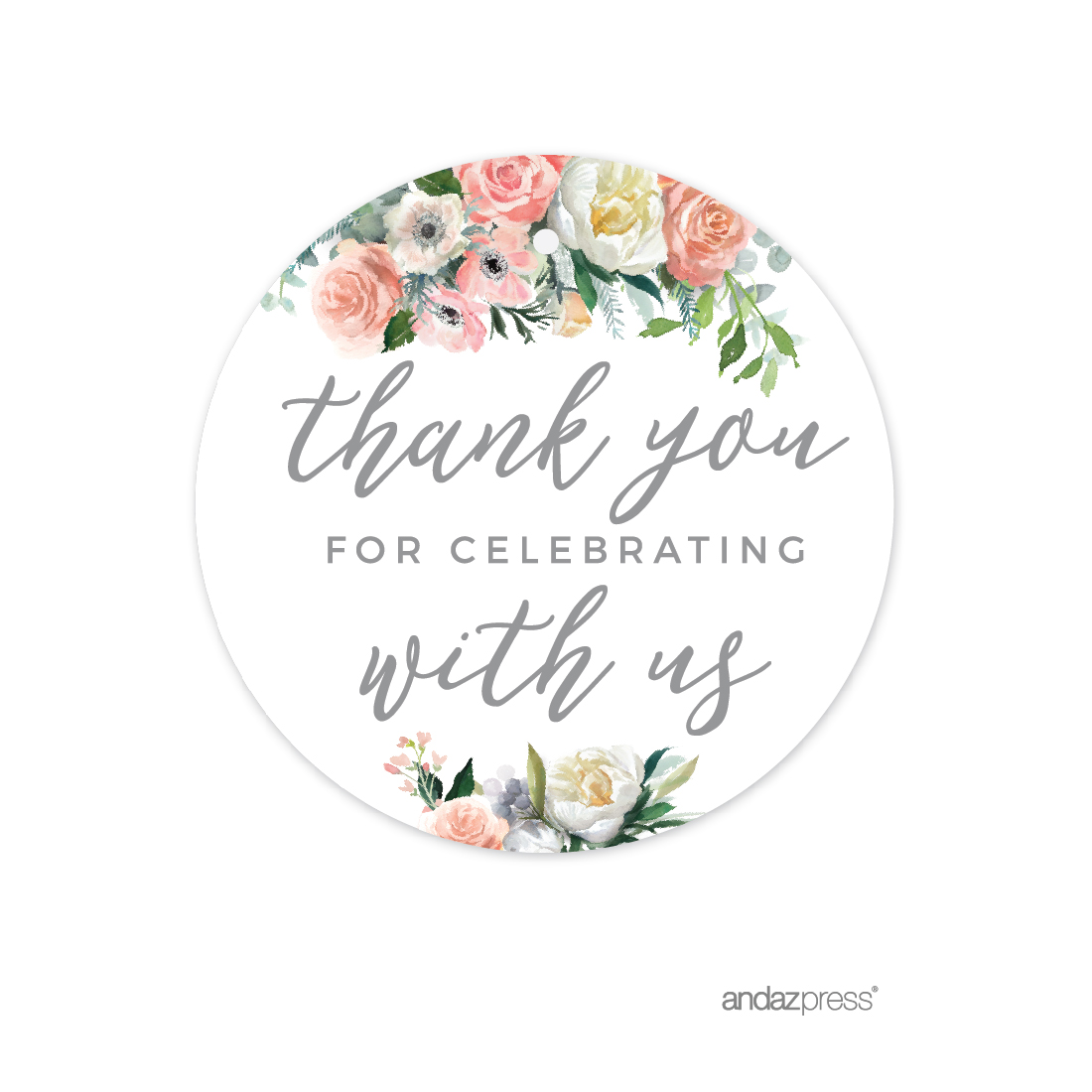 Peach Coral Floral Garden Party, Round Circle Gift Tags, Thank You for Celebrating With Us, 24-Pack