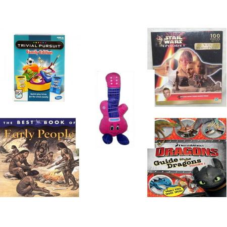 Children's Gift Bundle [5 Piece] -  Trivial Pursuit Family Edition  - Star Wars Episode I Yoda Shaped   - Jammin Pink Guitar  13