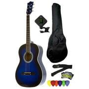 Fever 3/4 Size Acoustic Guitar Package Blueburst with Gig Bag, Guitar Tuner, Picks and Strap, FV-030-DBL-PACK