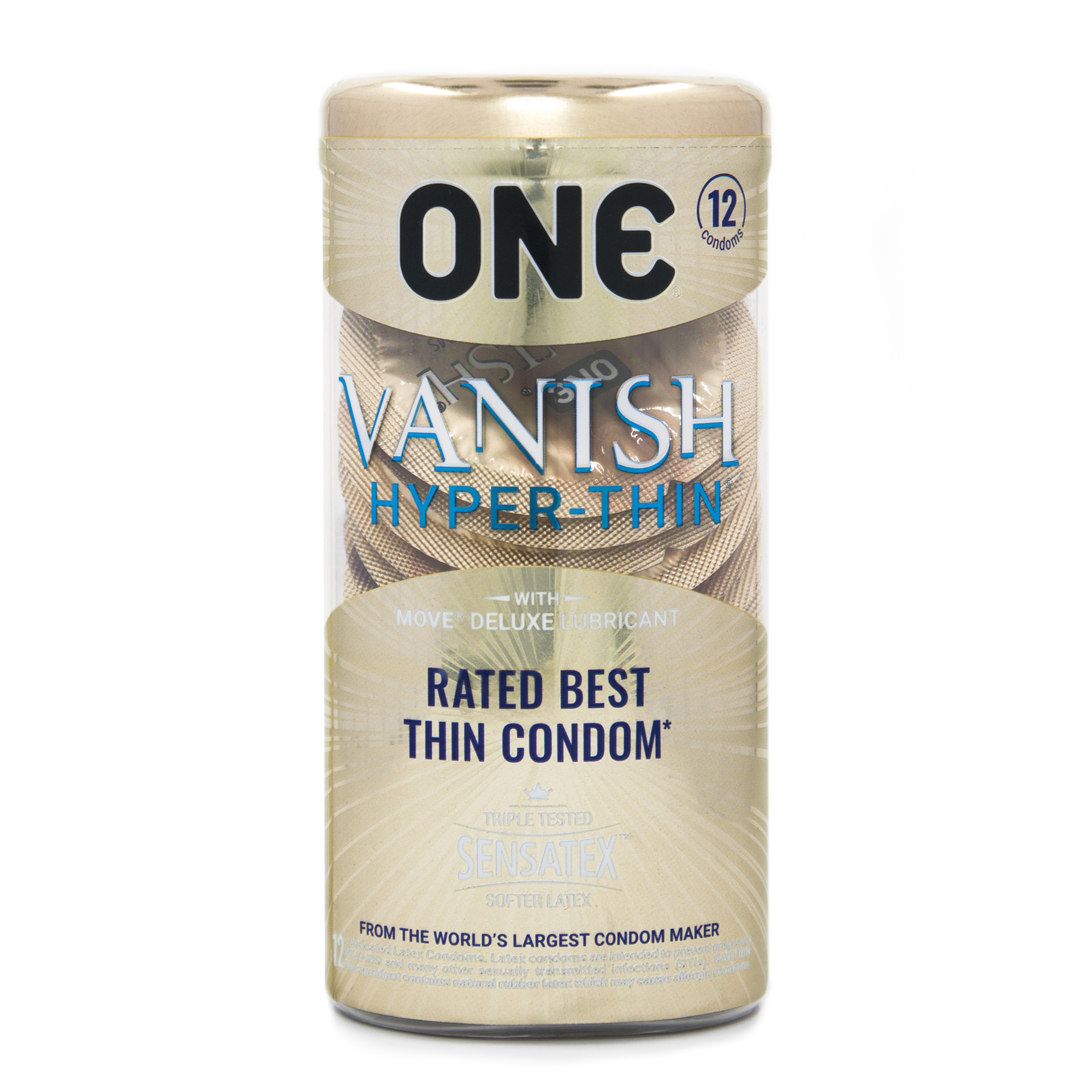 One Vanish Hyperthin Lubricated Latex Condoms - 12 ct