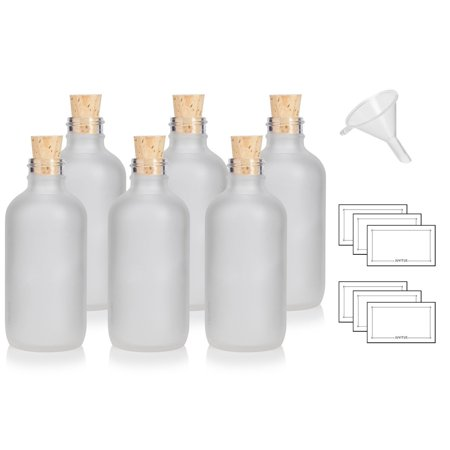 4 oz / 120 ml Frosted Clear Glass Boston Round Bottle with Cork Stopper Closure (6 Pack) + Funnel and (Small Glass Bottle)