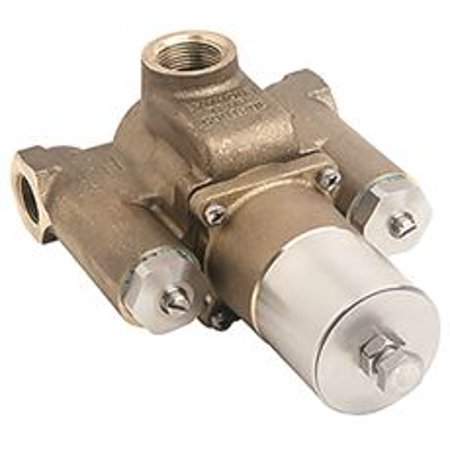 Symmons Tempcontrol Thermostatic Mix Valve, Rough Brass, 1-1/4 In. X 1 Dual Thermostatic Valve