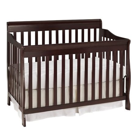 Big Oshi Stephanie 4-In-1 Convertible Crib – Modern, Unisex Wood Design for Boys or Girls – Adjustable Height, Low to High - Convertible to Crib and Day, Toddler or Twin Bed - With Hardware, Espresso