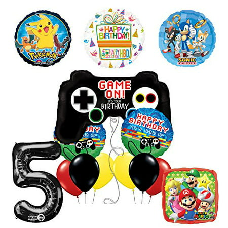 The Ultimate Video Game 5th Birthday Supplies(Sonic, Super Mario and Pokemon)