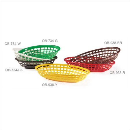 Brown Oval Basket - 8 inch x 5.5 inch Oval Basket 2 inch Deep Brown Polycarbonate/Case of 36