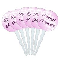 Daddy's Princess with Pink Crowns Cupcake Picks Toppers - Set of 6