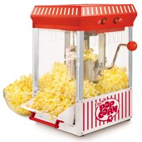 Nostalgia KPM200 2.5-Ounce Tabletop Kettle Popcorn Maker, Makes 10 Cups of Popcorn - Red/White