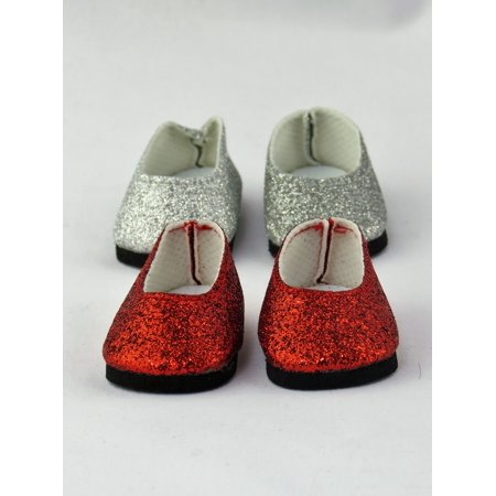 2 Pack Of Slip On Glitter Shoes Silver Glitter And Red