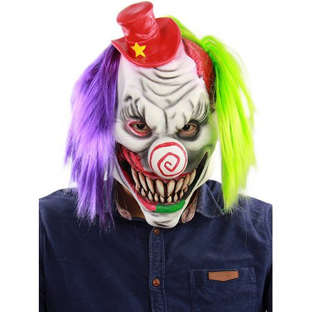 Halloween Serial Killer Mask (Halloween Party Latex Scary Clown Mask With Wigs Evil Killer Fancy Fun)