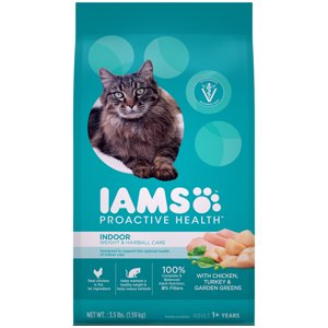 Iams Proactive Health Adult Indoor Weight And Hairball Care With Chicken, Turkey, And Garden Greens Dry Cat Food, 3.5 Lb
