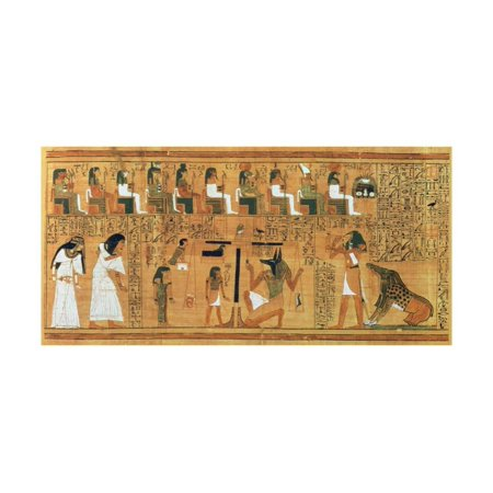 The Weighing of the Heart Against the Feather of Truth, circa 1250 BC (Painted Papyrus) Print Wall Art](Painted Feather)