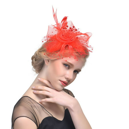 Outtop Women Flower Mesh Ribbons Feathers Headband Cocktail Tea Party Hat - Led Headwear