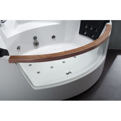 "Eago AM197 84""Acrylic Whirlpool Tub for Corner Installation with Front Drain, Ch"