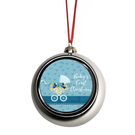 Babys First Christmas Ball (Baby's First Christmas Ornament Baby Boy Ornaments Silver Bauble Christmas Ornament Balls)