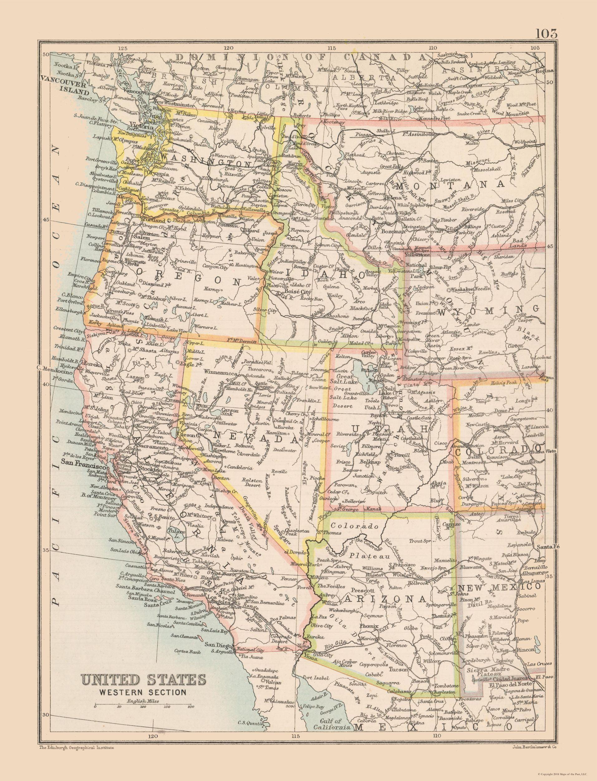 Western United States - Bartholomew 1892 - 23 x 30.04
