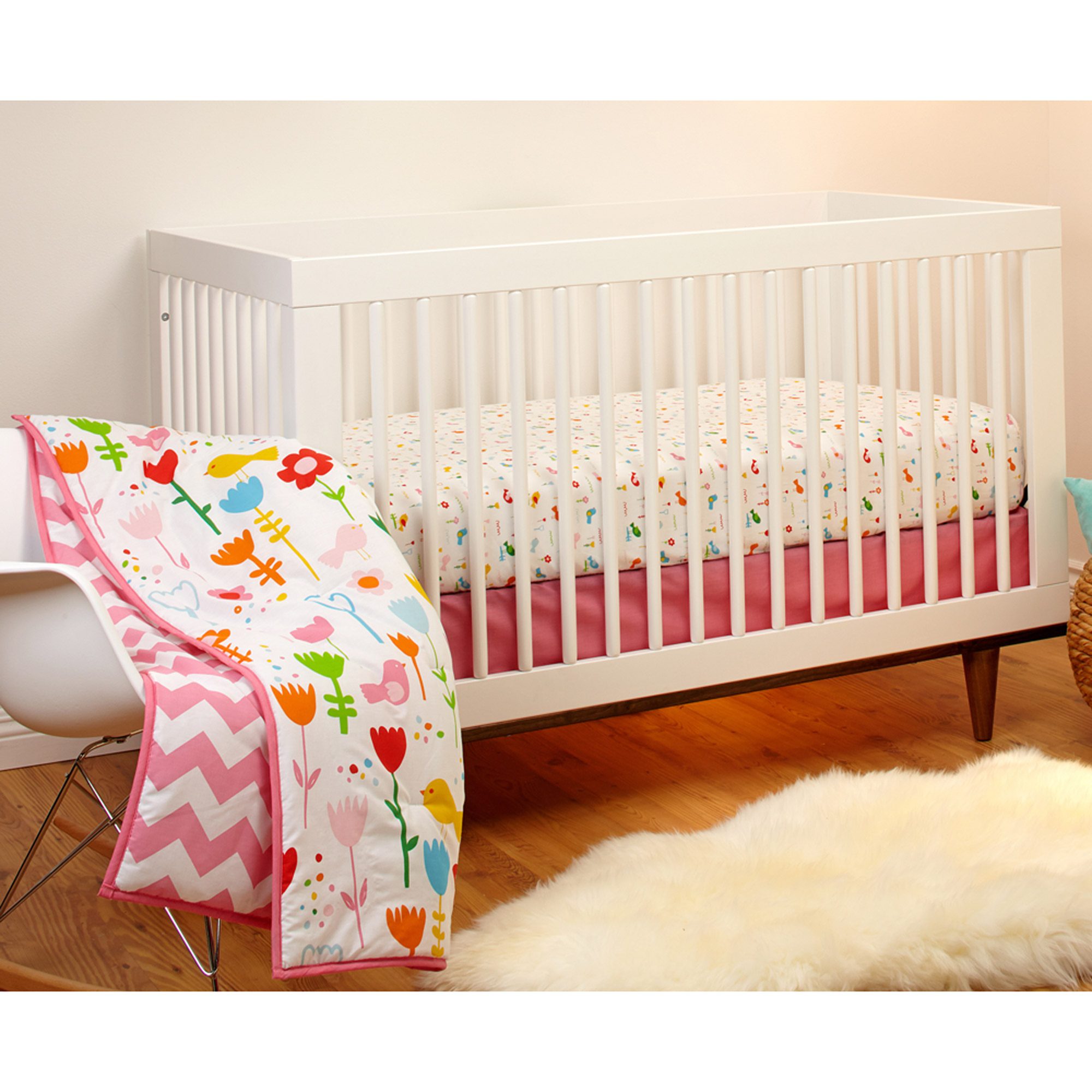 Little Bedding By Nojo Reversible Sweet Tweet Pink Chevron Print 3 Piece Crib Set