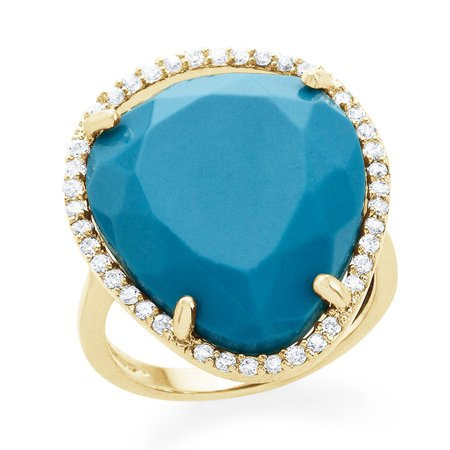 Genuine Turquoise Pear Fashion Ring