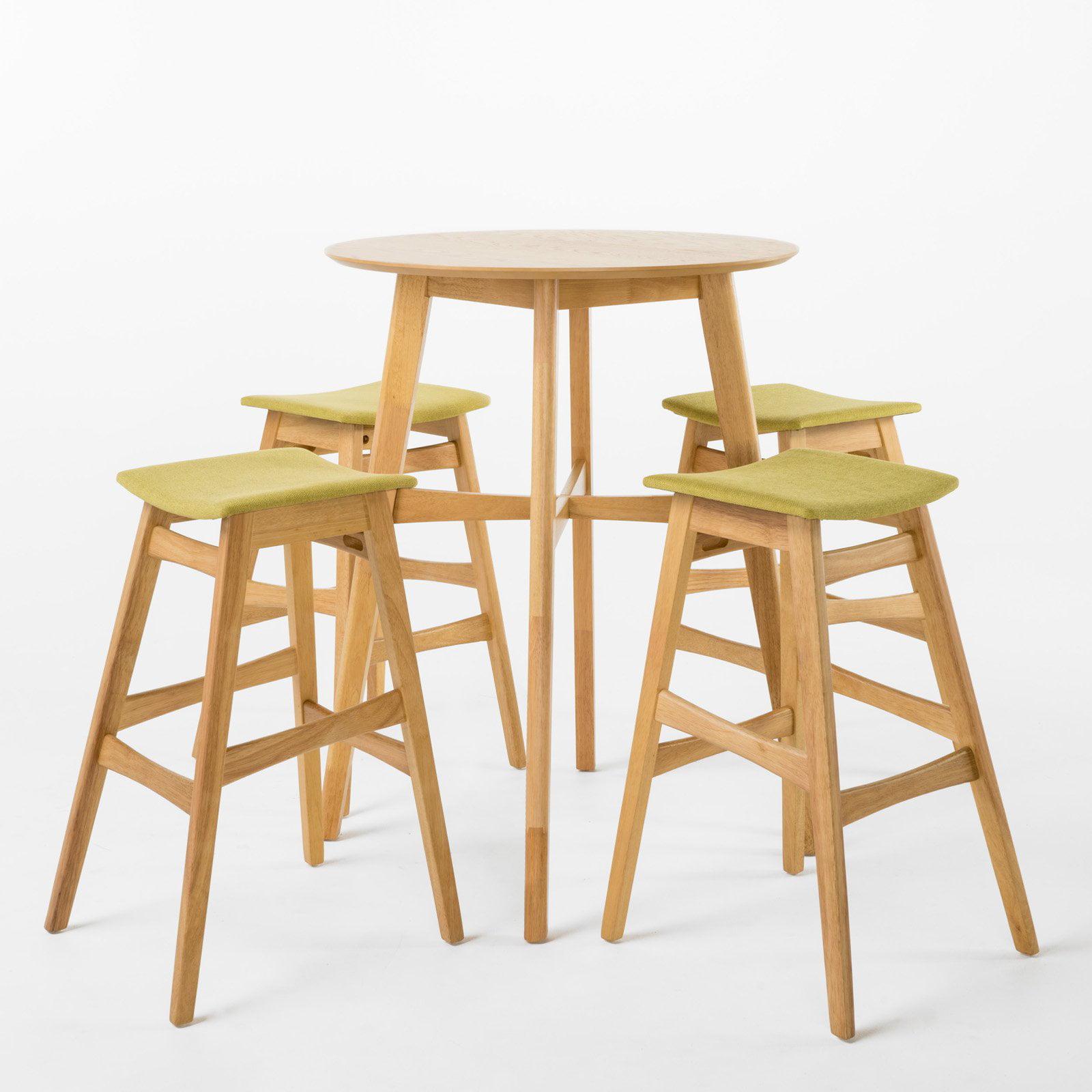 Evangeline Circular 5 Piece Wood Bar Height Dining Set