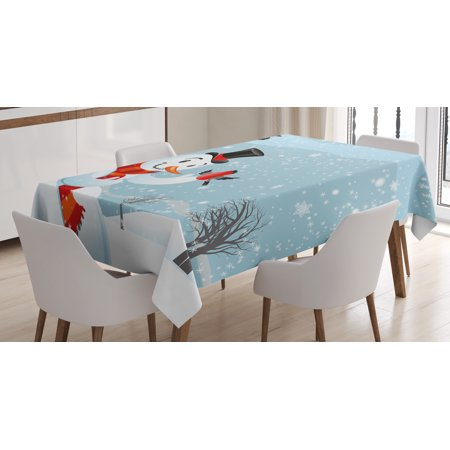 Snowman Tablecloth, Snowfall Festive New Year's Eve Celebration Theme Xmas Figure with Bullfinch Birds, Rectangular Table Cover for Dining Room Kitchen, 60 X 90 Inches, Multicolor, by Ambesonne ()