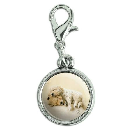 Golden Retriever Puppies Dogs Friends Sleeping Antiqued Bracelet Pendant Zipper Pull Charm with Lobster Clasp 3d Golden Retriever Charm