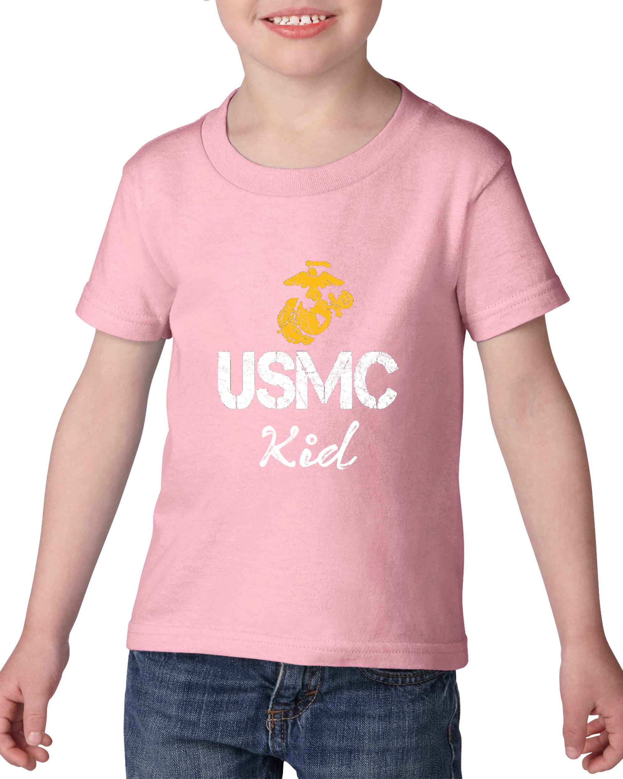 Artix USMC Kid Proud U.S. Marines Fight to Win Matching Couple w Mama Papa Gift for Kids Birthday Christmas Funny Party Heavy Cotton Toddler Kids T-Shirt Tee Clothing