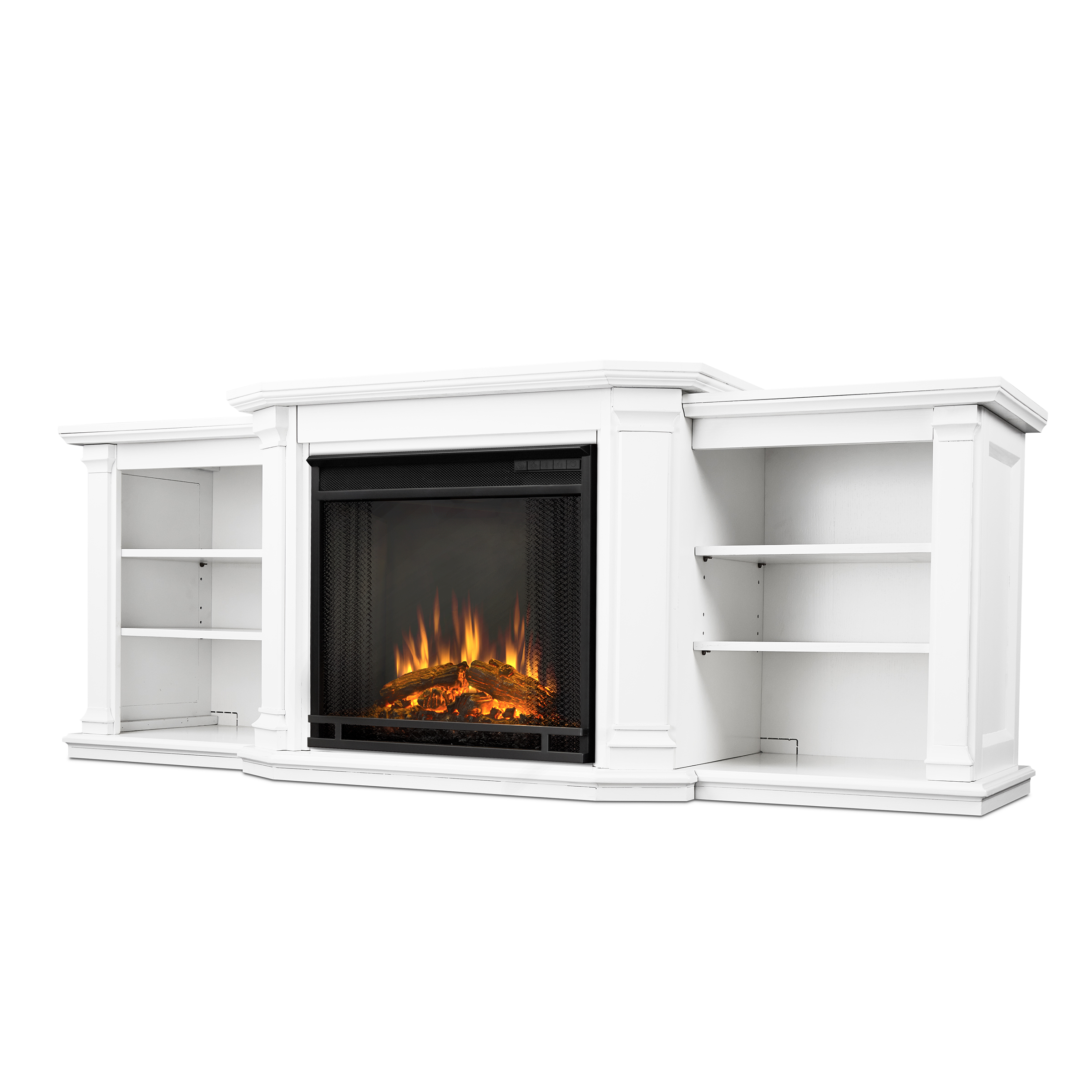 Valmont Entertainment Center Electric Fireplace In White By Real