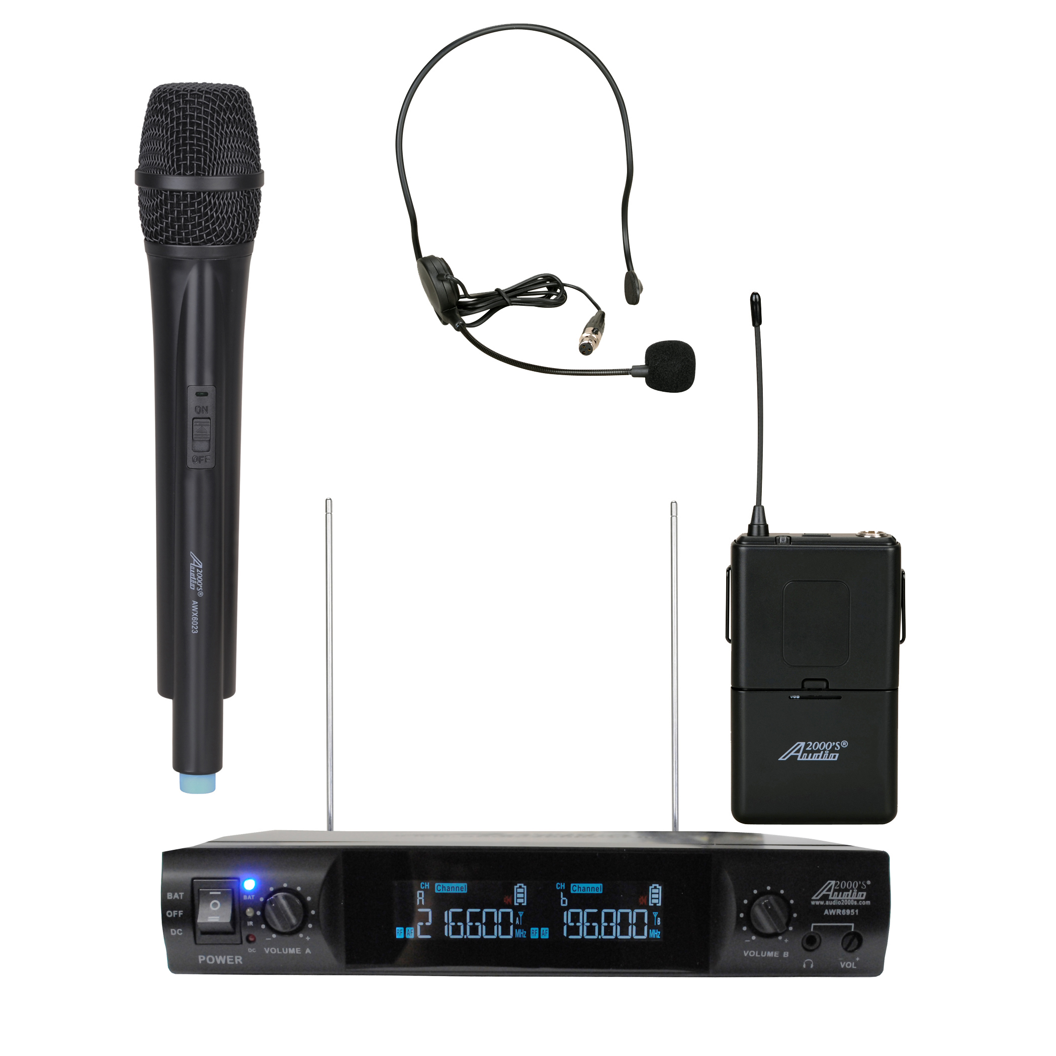 Audio2000's AWM6951VX VHF Dual Channel Portable Wireless Handheld & Headset Microphone by