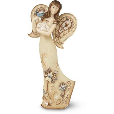 "Pavilion- Angel Figurine Holding Bunny Rabbit Kindness 7.5"""