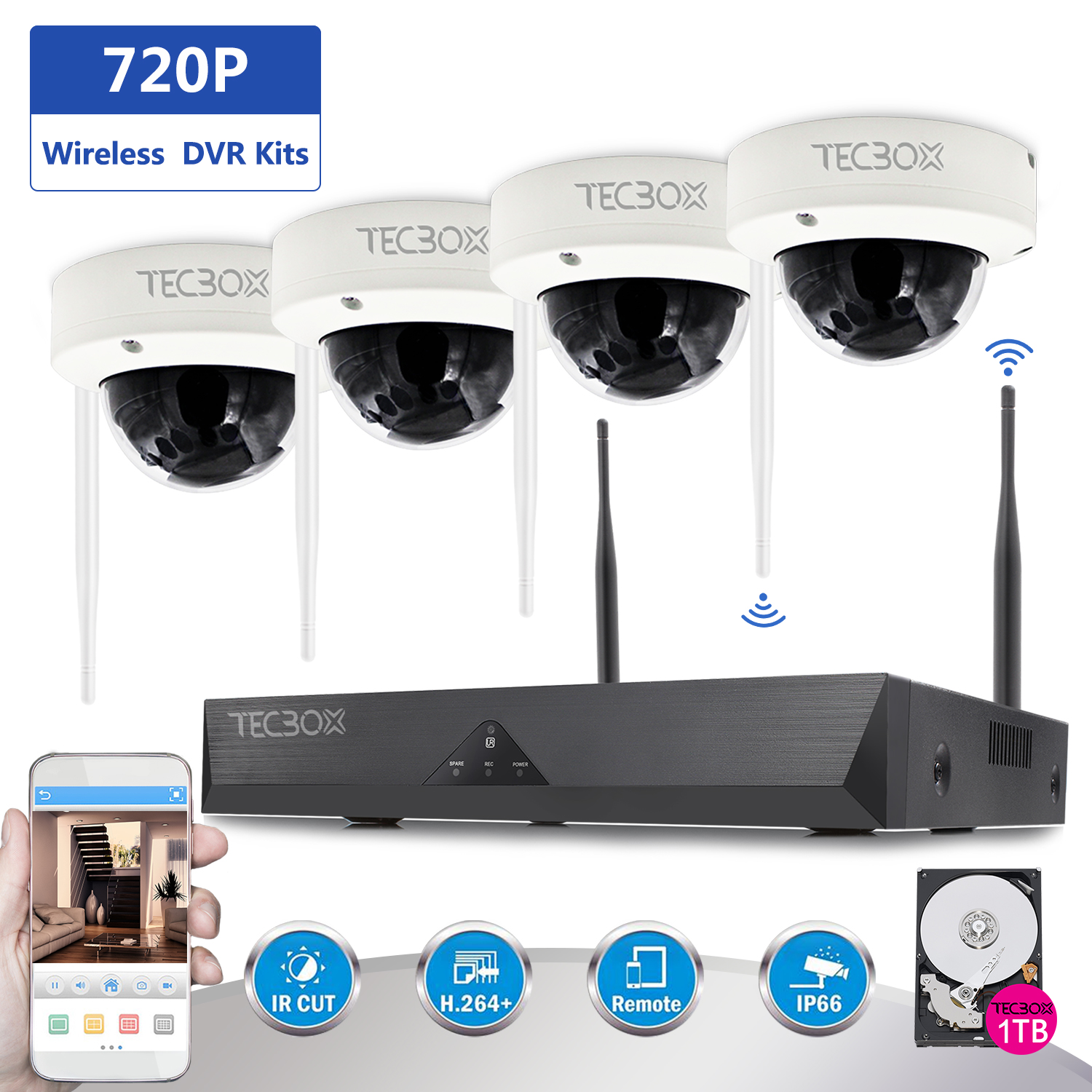 TECBOX Wireless Security Camera System 4 Channel 720P Nvr Home Video Cctv Surveillance Dvr Recorder, 1TB Hard Drive 4 Hd 1.3Mp Night Vision, Waterproof, Indoor / Outdoor Wifi Security Camera