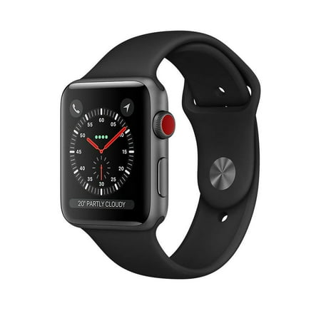 Refurbished Apple Watch Series 3 GPS + Cellular 42mm Space Gray Aluminum Case with Black Sport Band - (Space Gray Aluminum Case With Black Sport Band)